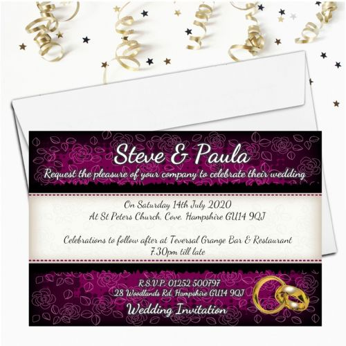 10 Personalised Black & Purple Floral Wedding Invitations Day / Evening N65